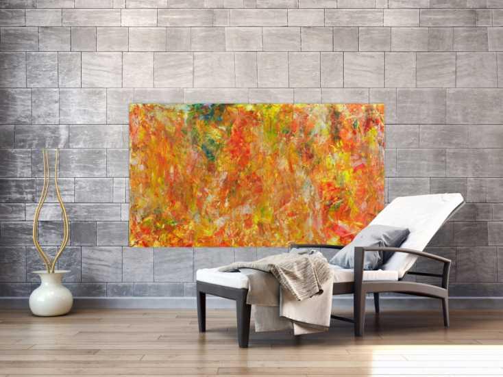 #1392 Abstraktes Acrylbild Spachteltechnik Modern Art orange gelb ... 90x160cm von Alex Zerr