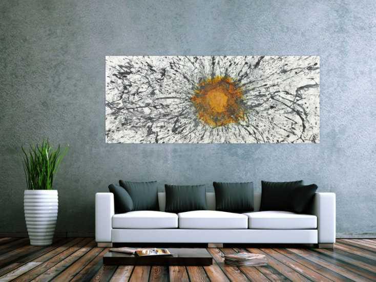 #1394 Abstraktes Bild mit Rost Acrylbild mit echtem Rost Modern Art ... 80x200cm von Alex Zerr