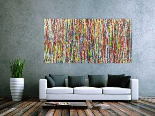 Abstraktes Acrylbild Action Painting sehr bunt Modern Art zeitgenössisch