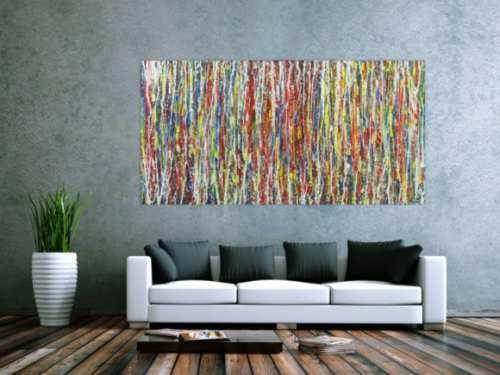 Abstraktes Gemälde Modern Art sehr bunt Action Painting auf Leinwand handgemalt groß