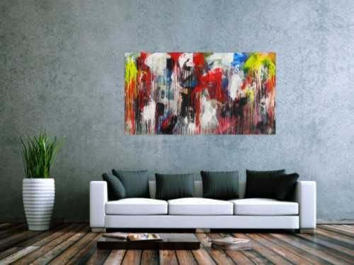 Abstraktes Acrylbild sehr bunt Modern Art Action Painting zeitgenössisch