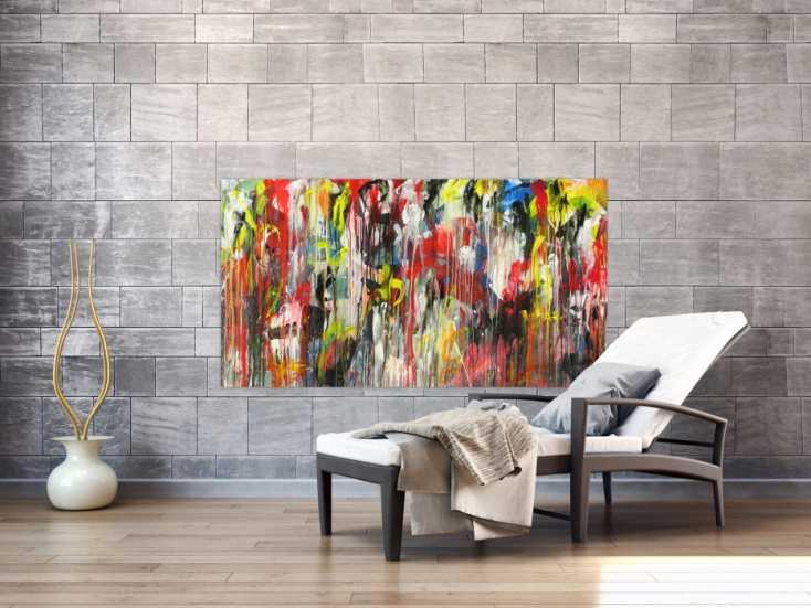 #1397 Abstraktes Acrylbild Modern Art sehr bunt Action Painting ... 80x150cm von Alex Zerr