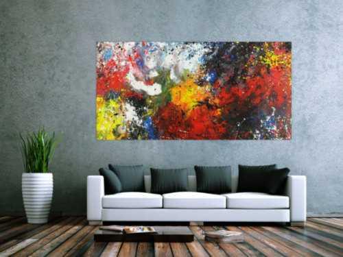 Abstraktes Acrylbild bunt Action Painting Modern Art handgemalt