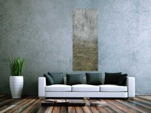 Abstraktes Acrylbild mit Struktur silber und gold Farbe sehr modern zeitgenössisch
