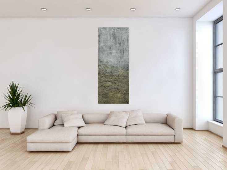 #1399 Abstraktes Acrylbild mit Struktur silber und gold Farbe sehr modern ... 150x60cm von Alex Zerr