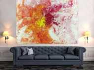 Abstraktes Acrylbild Modern Art groß expressionistisch Action Painting weiß pink rosa gelb orange