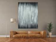 Abstraktes Acrylbild schwarz weiß feine Struktur mit Sand modern zeigenössisch