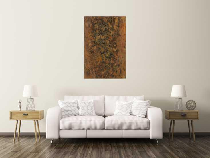 #1405 Abstrakres Gemälde aus echtem Rost und sehr grober Struktur ... 120x80cm von Alex Zerr