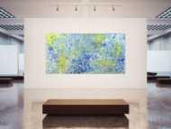 Abstraktes Acrylbild Action Painting blau gelb weiß modern zeitgenössisch Modern Art auf Leinwand