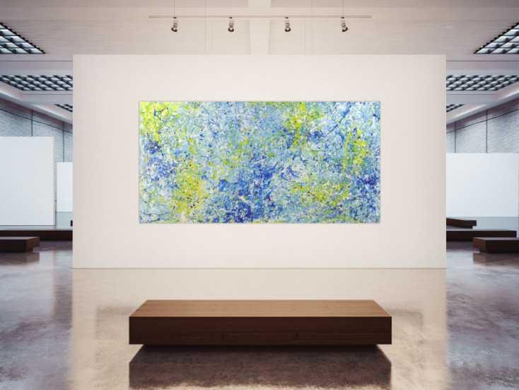 #1408 Abstraktes Acrylbild Action Painting blau gelb weiß modern ... 150x300cm von Alex Zerr