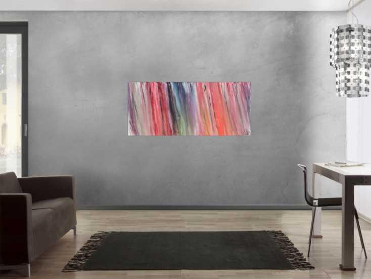 #1409 Abstraktes Acrylbild bunt Fließtechnik sehr modernes Gemälde ... 60x140cm von Alex Zerr