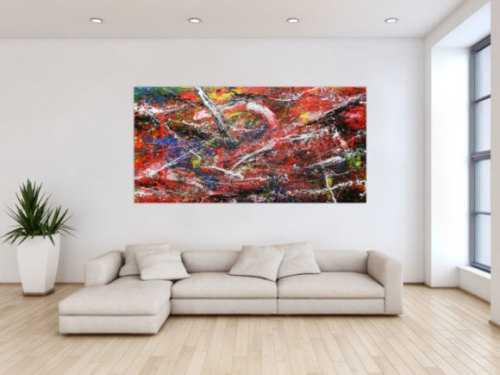 Abstraktes Acrylbild auf Leinwand bunt modern