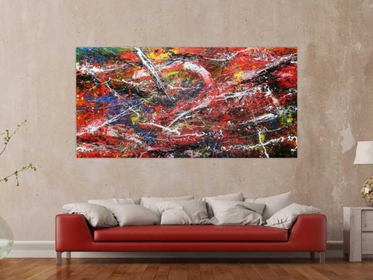 abstraktes acrylbild auf leinwand bunt modern auf leinwand 100x200cm. Black Bedroom Furniture Sets. Home Design Ideas