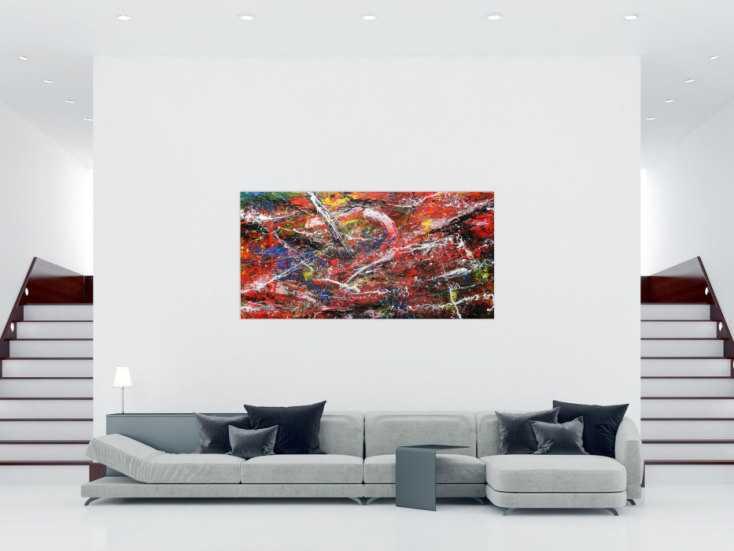Abstraktes acrylbild auf leinwand bunt modern auf leinwand for Bilder leinwand modern