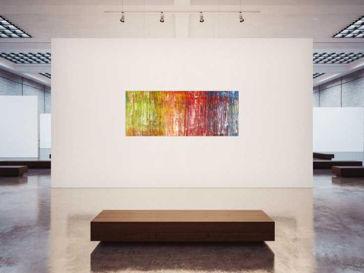 #1410 Abstraktes Acrylbild sehr modern bunt Spachteltechnik zeitgenössisch  80x200cm von Alex Zerr
