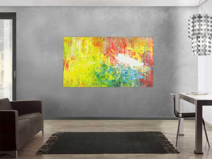 #1412 Abstraktes Acrylbild sehr modern zeitgenössisch Action Painting bunt ... 100x180cm von Alex Zerr