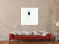 Abstraktes Acrylbild zeigenössisch Action Painting minimalistisch schwarz weiß auf Leinwand