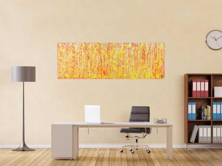 #1426 Abstraktes Acrylbild geld orange weiß Modern Art zeitgenössisch ... 60x180cm von Alex Zerr