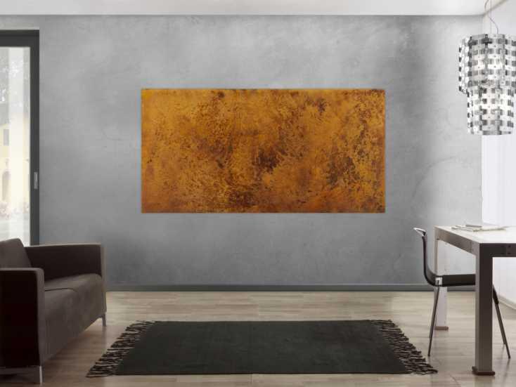 #1427 Abstraktes Gemälde aus echtem Rost auf Leinwand handgemalt ... 100x200cm von Alex Zerr