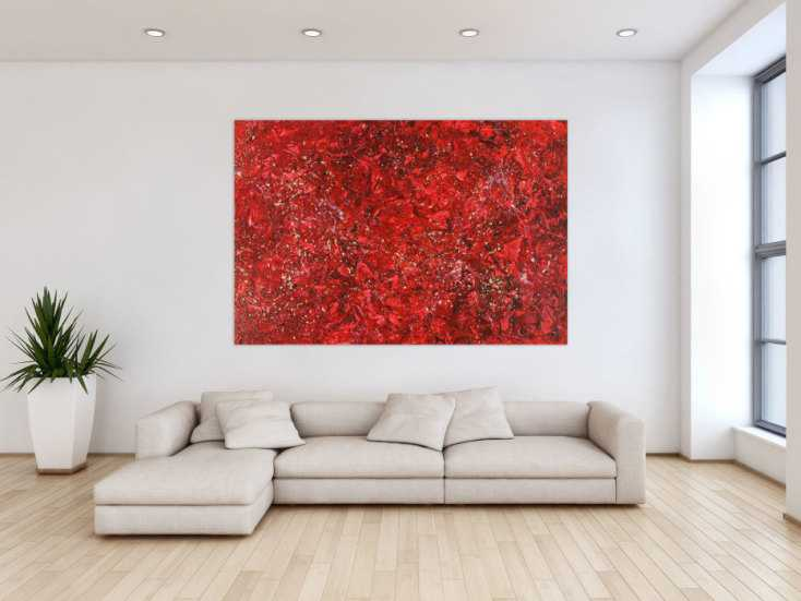 #1430 Abstraktes Acrylbild rot gold Modern Art zeigenössisch handgemalt ... 120x180cm von Alex Zerr