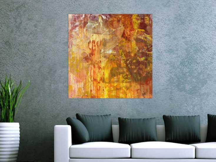 #1432 Abstraktes Acrylbild Modern Art handgemalt auf Leinwand Action ... 80x80cm von Alex Zerr