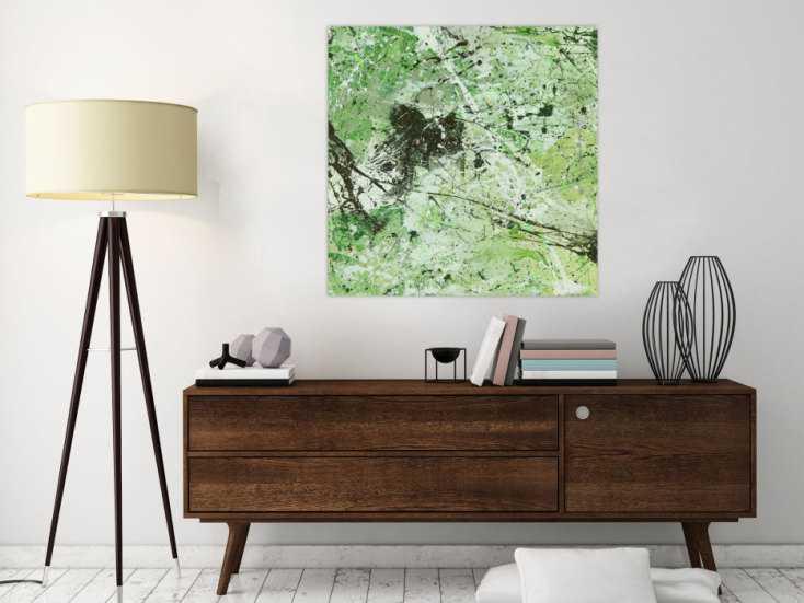#1441 Abstraktes Acrylbild Modern Art handgemalt auf Leinwand Action ... 80x80cm von Alex Zerr
