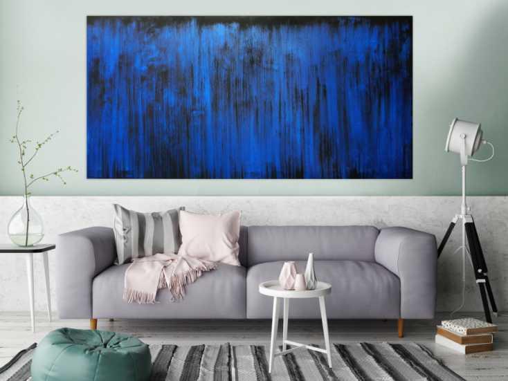 #145 Abstraktes Acrylbild blau modern 100x200cm von Alex Zerr