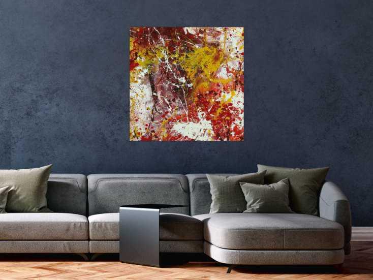 #1451 Abstraktes Acrylbild Modern Art handgemalt auf Leinwand Action ... 80x80cm von Alex Zerr