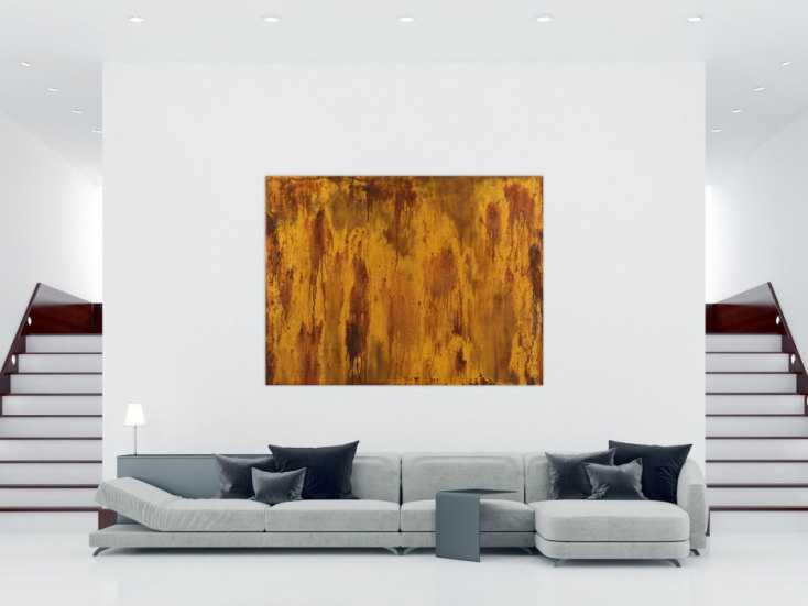 #1454 Abstraktes Gemälde aus echtem Rost auf Leinwand handgemalt ... 150x200cm von Alex Zerr