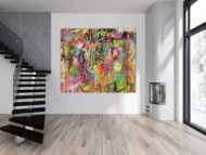 Abstraktes Gemälde Modern Art auf Leinwand handgemalt Mischtechnik sehr bunt groß XXL