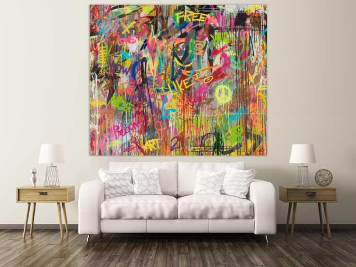 #1455 Abstraktes Gemälde Modern Art auf Leinwand handgemalt Mischtechnik ... 170x200cm von Alex Zerr