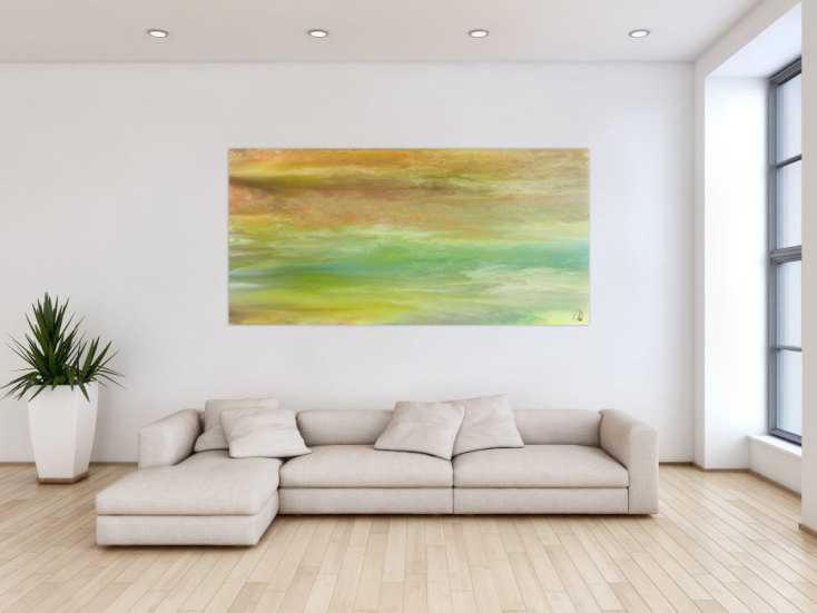 #1458 Abstraktes Acrylbild Modern Art Fließtechnik zeitgenössisch auf ... 90x190cm von Alex Zerr