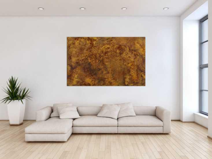 #1464 Abstraktes Gemälde aus echtem Rost auf Leinwand handgemalt Modern ... 100x160cm von Alex Zerr