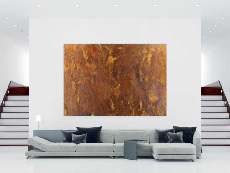 #1466 Abstraktes Gemälde aus echtem Rost auf Leinwand XXL handgemalt ... 180x260cm von Alex Zerr