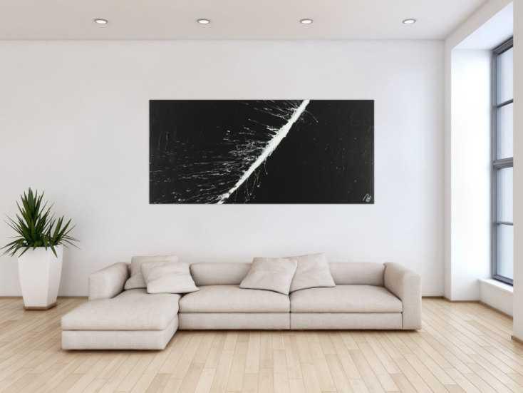 #1468 Abstraktes Acrylbild minimalistisch schwarz weiß schlicht Action ... 85x185cm von Alex Zerr
