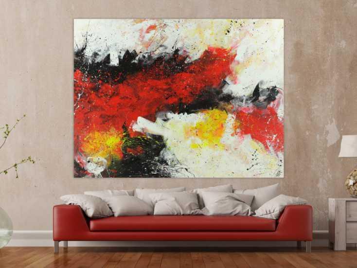 #1470 Abstraktes Acrylbild Action Painting rot weiß gelb schwarz auf ... 150x200cm von Alex Zerr