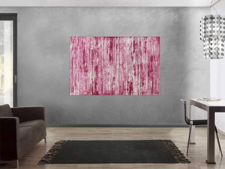 #1473 Abstraktes Acrylbild weiß und magenta Spachteltechnik auf Leinwand ... 110x170cm von Alex Zerr