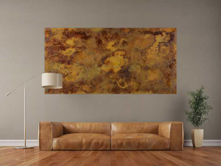 #1475 Abstraktes Acrylbild aus echtem Rost auf Leinwand handgemalt in XXL ... 100x200cm von Alex Zerr