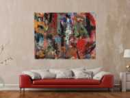Abstraktes Acrylbild Mischtechnik zeitgenössisch expressionistisch handgemaltes Unikat auf Leinwand