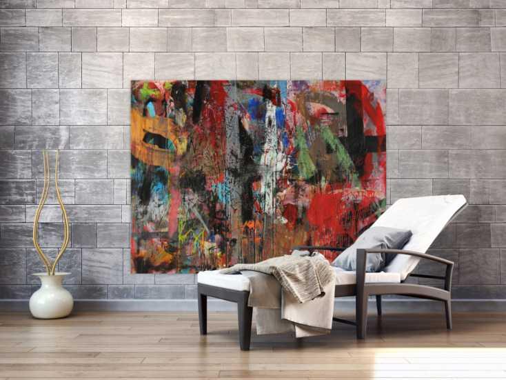 #1476 Abstraktes Acrylbild Mischtechnik zeitgenössisch expressionistisch ... 100x160cm von Alex Zerr