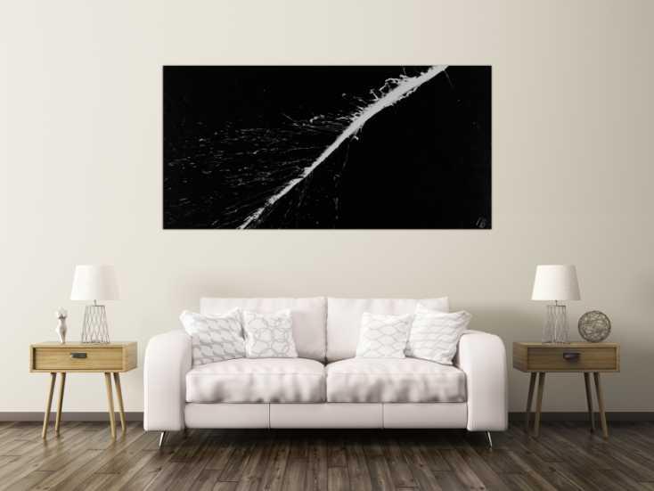 #1479 Abstraktes Acrylbild minimalistisch schwarz weiß auf Leinwand ... 100x200cm von Alex Zerr