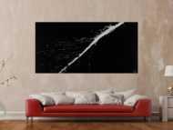 Abstraktes Acrylbild minimalistisch schwarz weiß auf Leinwand handgemalt expressionistisch modern