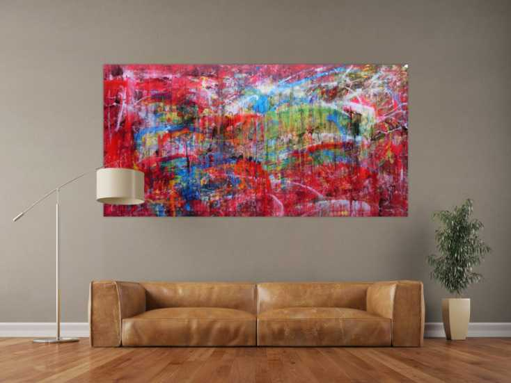 acrylbild abstrakt bunt modern auf leinwand 100x200cm. Black Bedroom Furniture Sets. Home Design Ideas