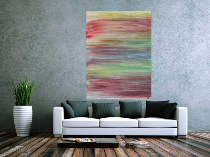 #1481 Abstraktes Acrylbild helle Pastellfarben Fließtechnik ... 150x110cm von Alex Zerr