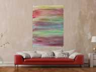 Abstraktes Acrylbild helle Pastellfarben Fließtechnik zeitgenössisch Modern Art auf Leinwand