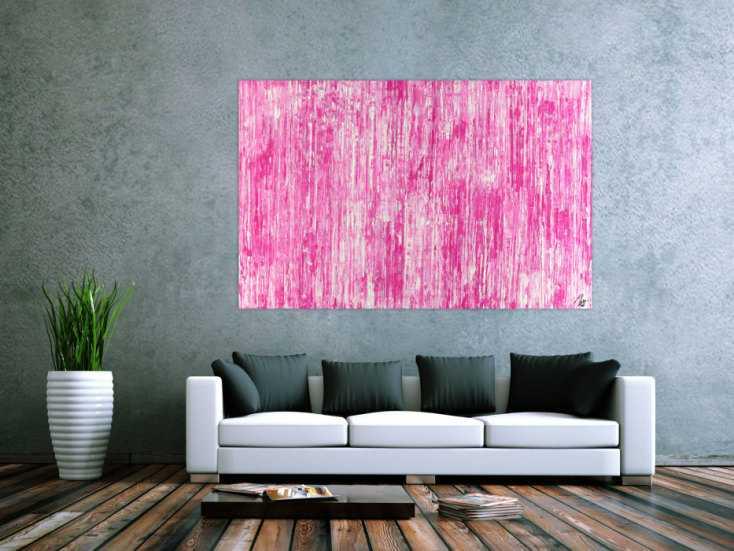 #1489 Abstraktes Acrylbild Spachteltechnik weiß pink Modern Art auf ... 110x170cm von Alex Zerr