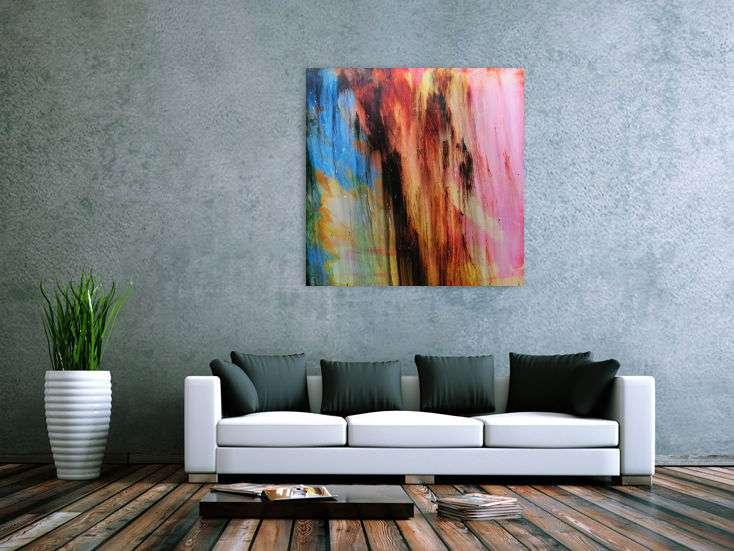 acrylbild abstrakt modern quadratisch handgemalt auf leinwand in 100x100cm von alex zerr. Black Bedroom Furniture Sets. Home Design Ideas