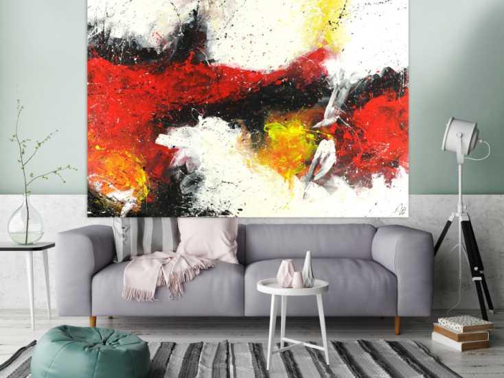 #1495 Abstraktes Acrylbild zeitgenössische expressionsistisch rot weiß ... 150x200cm von Alex Zerr