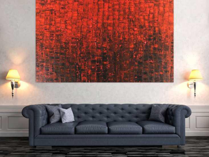 #1496 Abstraktes Acrylbild Spachteltechnik scharz rot Modern Art auf ... 120x200cm von Alex Zerr