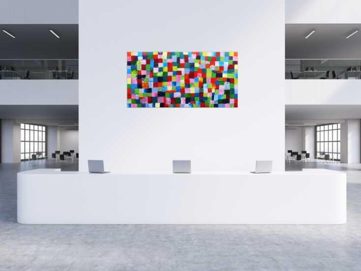 #150 Abstraktes Acrylbild bunte Kacheln 100x200cm von Alex Zerr